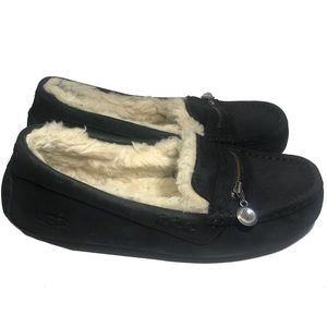 UGG Ansley Charm Black Suede Slippers Size 7